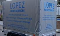 Anhängerbeschriftung für Lopez Renovierungen aus Ludwigsburg