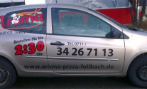 Fahrzeugbeschriftung für Aroma Pizzalieferdienst aus Fellbach