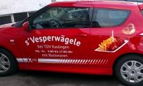 Verspielte Folienbeschriftung für s'Vesperwägele aus Esslingen
