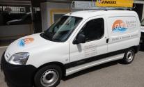Fahrzeugfolierung im Folienplott für GuT Sanitär aus Esslingen