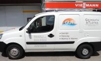 Folienbeschriftung eines Pkw für die Firma GuT Sanitär aus Esslingen