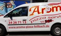 Transporterbeschriftung für Pizzaservice Aroma aus Fellbach