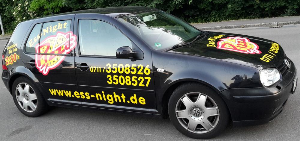Fahrzeugbeschriftung für den Kunden Ess Night Pizza aus Esslingen