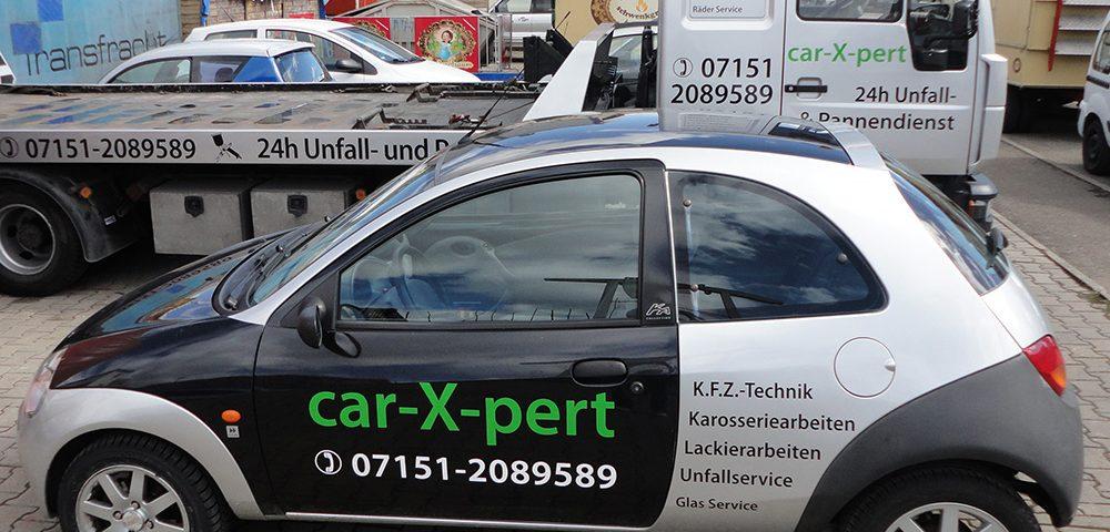 Fahrzeugbeschriftung für Autoservice car-x-pert aus Waiblingen