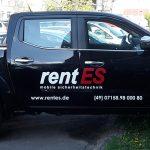 Fahrzeugbeschriftung im Folienplott für die Firma rentES aus Esslingen