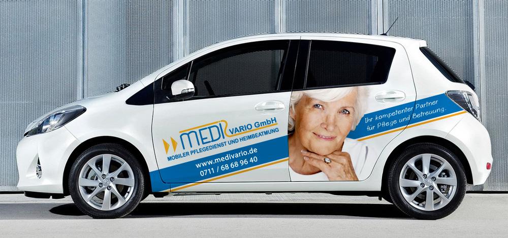 Fahrzeugvollverklebung im Digitaldruck für Medi Vario aus Stuttgart