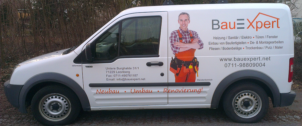 Transporterbeschriftung für BauExpert GmbH aus Leonberg