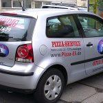 Werbebeschriftung für Pizzalieferdienst Venedig aus Esslingen