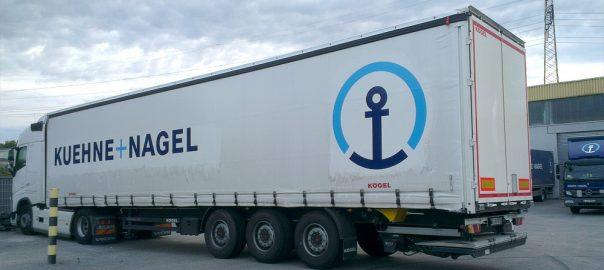 Sattelauflieger-Beschriftung für die Firma Kühne+Nagel aus Stuttgart