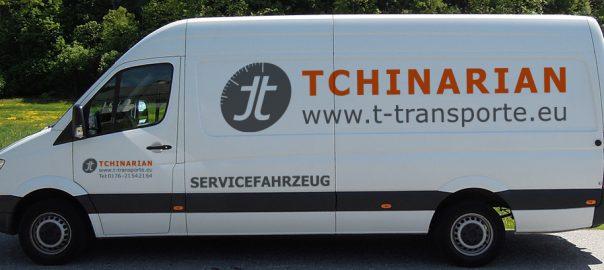 Fahrzeugbeschriftung für Tchinarian Transporte GmbH aus Ludwigsburg
