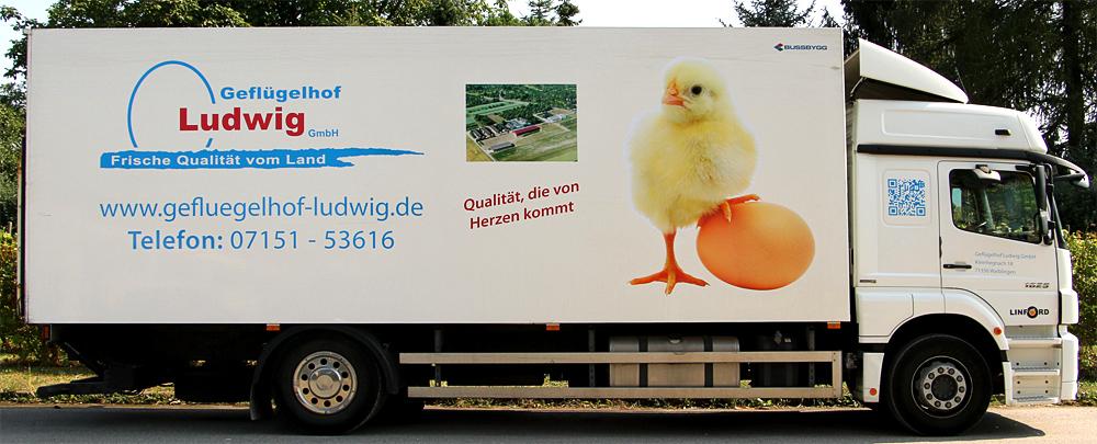 Lkw-Beschriftung für Geflügelhof Ludwig GmbH aus Waiblingen