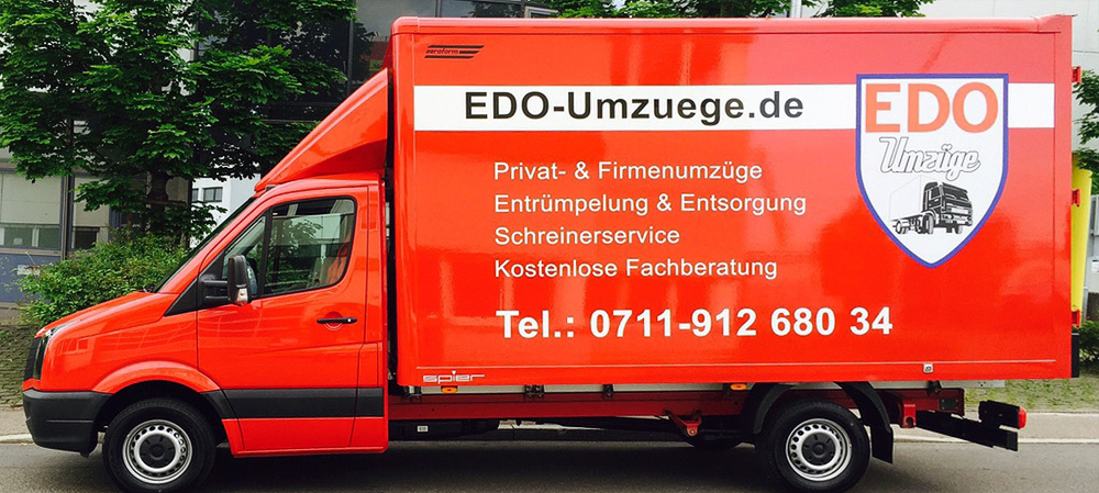 Lkw-Vollfolierung für den Kunden EDO Umzüge aus Stuttgart