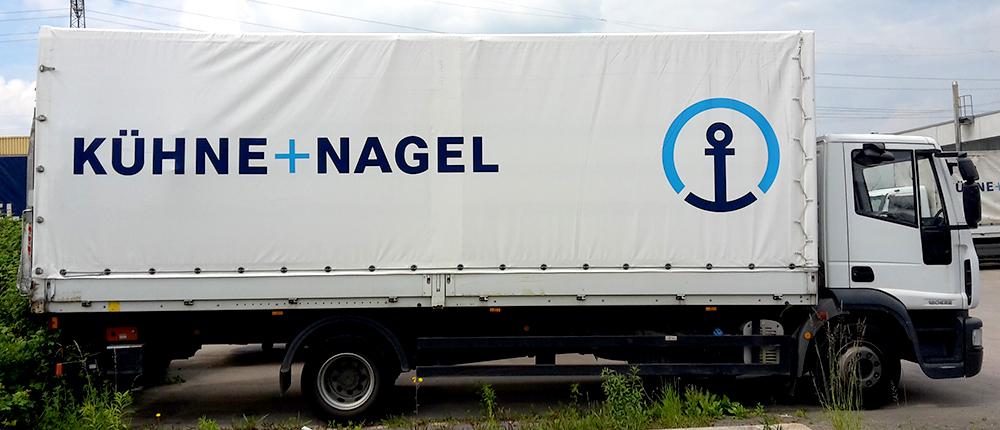 Planenbedruckung für die Firma Kühne+Nagel aus Esslingen