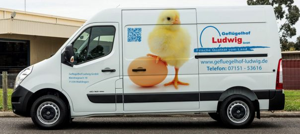Transporterbeklebung im Digitaldruck für Ludwig in Waiblingen