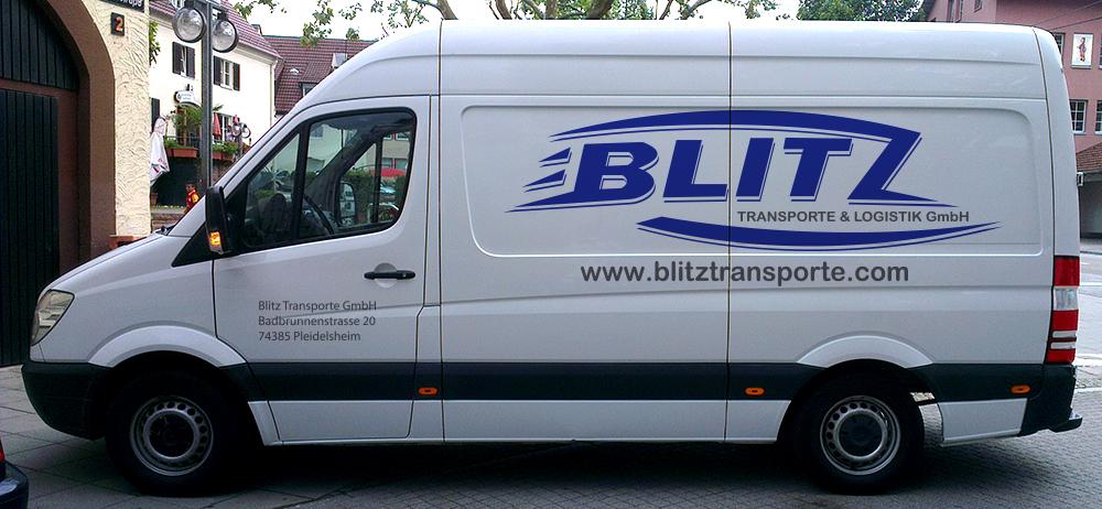 Transporterbeschriftung für die Fa. Blitz Transporte aus Pleidelsheim
