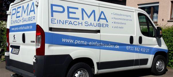 Transporterbeschriftung für die Reinigungsfirma Pema aus Esslingen