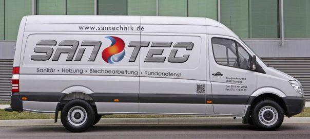 Transporterbeschriftung für Sanitärfirma SanTec aus Stuttgart