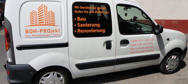 Werbebeschriftung für den Auftraggeber BDH-Projekt aus Stuttgart